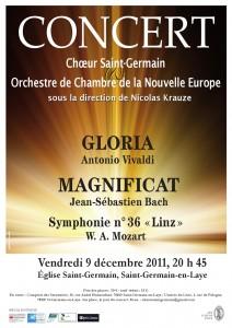 Affiche du concert du 9 décembre 2011 du Choeur Saint Germain